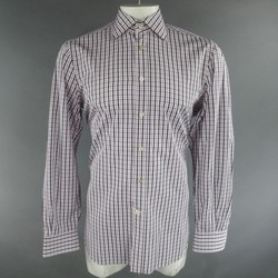 KITON Size L Pink & Navy Plaid Cotton Long Sleeve Shirt