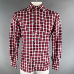KITON Size L Red Plaid Linen Long Sleeve Shirt