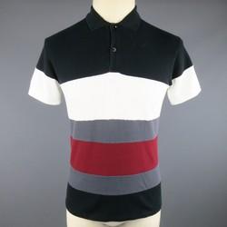 KRIS VAN ASSCHE Size S Black White Gray & Red Stripe Pique Polo