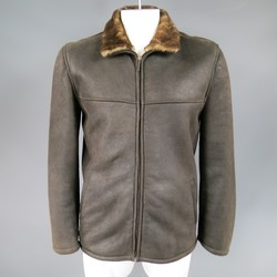 LA MATTA 40 Dark Brown Lambskin Shearling Leather Jacket