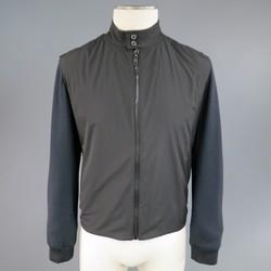 LANVIN 36 Charcoal Wool Windbreaker Front High Collar Jacket