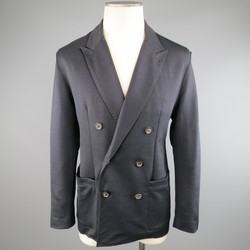 LANVIN 40 Short Navy  Raw Edge Ramie Blend Soft Double Breasted Sport Coat