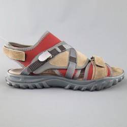 LANVIN Size 10 Beige & Red Neoprene & Suede Hybrid Strap Sandals