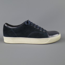 LANVIN Size 10 Navy Suede & Patent Leather Cap Toe Sneakers