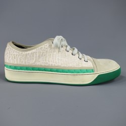 LANVIN Size 10 Off White Leather Green Snake Stripe Cap Toe Sneakers
