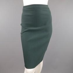 LANVIN Size 4 Green Stretch Satin Back Zip Pencil Skirt