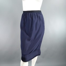 LANVIN Size 6 Navy Silk Ribbon Waist Raw Hemmed Skirt 2008