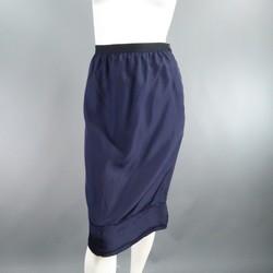 LANVIN Size 6 Navy Silk Ribbon Waist Raw Hemmed Skirt 2008