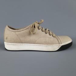 LANVIN Size 8 Beige Woven Canvas Cap Toe Sneakers