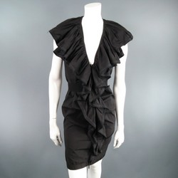 LANVIN Size 8 Black Cotton Sleeveless Ruffle Collar Zip Dress