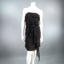 LANVIN Size 8 Black Silk Tiered Ruffle Draped Tie Flounced Cocktail Dress 2007