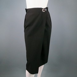 LANVIN Size 8 Black Wool Silver Grommet & Hook Wrap Skirt