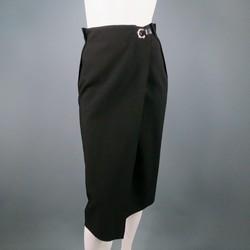 LANVIN Size 8 Black Wool Silver Grommet & Hook Wrap Skirt
