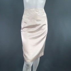 LANVIN Size 8 Cream Satin Pencil  Skirt
