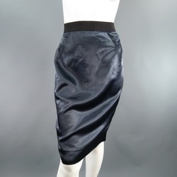 LANVIN Size 8 Navy Structured Satin Exposed Back Zip Pencil Skirt