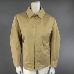 LANVIN Size L Stiff Khaki Paper Collared Work Jacket