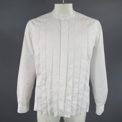 LANVIN Size L White Pleated Cotton Collarless Long Sleeve Shirt