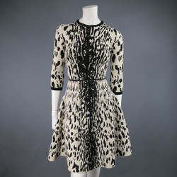LANVIN Size M Beige & Back Cheetah Wool Blend Flare Skirt Dress