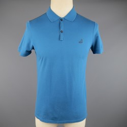 LANVIN Size S Teal & Charcoal Pique Boot Short Sleeve Polo