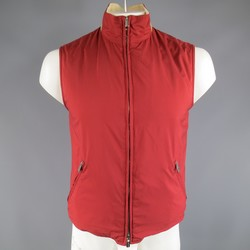 LORO PIANA 38 Burgundy Nylon / Beige Cotton Knit Reversible Vest