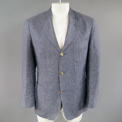 LORO PIANA 38 Regular Indigo Blue Pinstripe Linen Sport Coat