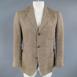 LORO PIANA 38 Regular Light Taupe Brown Nailhead Linen Flax Sport Coat
