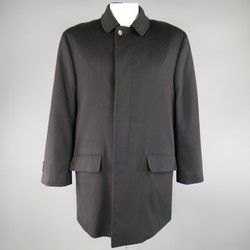 LORO PIANA 42 Black Cashmere Yellow Storm System Lining Hidden Placket Coat