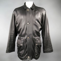 LORO PIANA 44 Black Leather Drawstring Waist Cashmere Lining 'Horsey'  Jacket