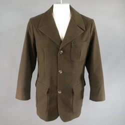 LORO PIANA 44 Brown Cotton Military Pocket Coat