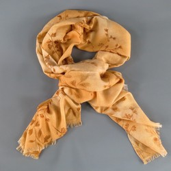 LORO PIANA Light Orange Tan Cashmere - Silk Brown Floral Print Scarf