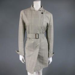 LORO PIANA Size 12 Olive & Beige Cotton / Silk Glenplaid Storm System Trenchcoat
