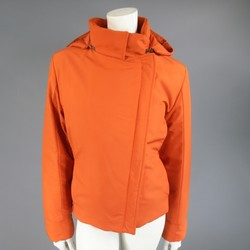 LORO PIANA Size 12 Orange Nylon Padded Storm System Detachable Hood Ski Jacket