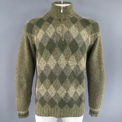LORO PIANA Size L Green Olive & Beige Argyle Cashmere Half Zip Sweater