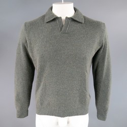 LORO PIANA Size M Green Blend Cashmere Ribbed Collar Pullover