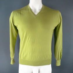 LORO PIANA Size M Green Cashmere V-Neck Pullover