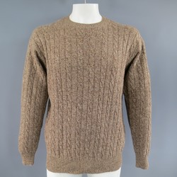 LORO PIANA Size XL Light Brown Cable Knit Cashmere Pullover Sweater
