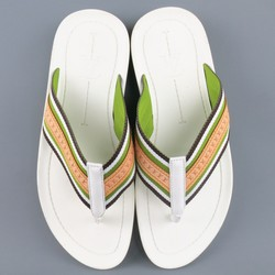 LOUIS VUITTON Size 8 White & Green Stripe Thong Sandals