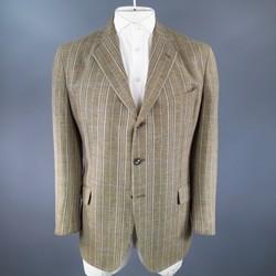 LUCIANO BARBERA Regular Brown Stripe Linen / Wool Sport Coat