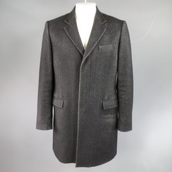 MAISON MARTIN MARGIELA 40 Black Textured Wool Blend Hidden Placket Coat