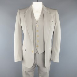 MAISON MARTIN MARGIELA 40 Regular Light Grey Wool 3 Piece Suit