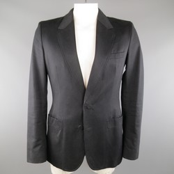 MAISON MARTIN MARGIELA 42 Black Cotton Blend Faux Button Sport Coat