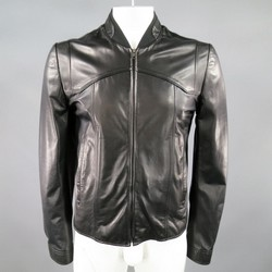 MAISON MARTIN MARGIELA 42 Black Leather Seam Panel Bomber Jacket