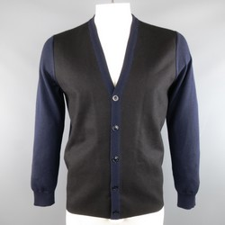 MAISON MARTIN MARGIELA L Black & Navy Mixed Materials Wool Blend V Neck Cardigan
