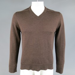 MAISON MARTIN MARGIELA L Brown Heather Wool V Neck Back Stitch Pullover Sweater