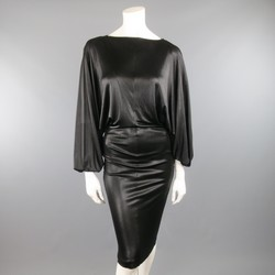 MAISON MARTIN MARGIELA S Black Lame' Draped Batwing Sleeve Dress