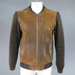 MAISON MARTIN MARGIELA S Brown Leather & Wool Bomber Jacket