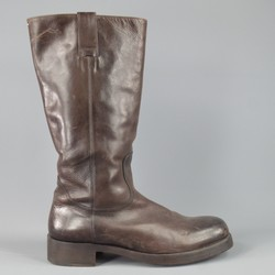 MAISON MARTIN MARGIELA Size 10.5 Mahogany Brown Leather Tall Workman Boots