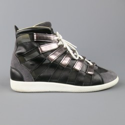 MAISON MARTIN MARGIELA Size 12 Black & Grey Mesh Stripe High Top Sneakers