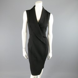 MAISON MARTIN MARGIELA Size 4 Black Wool Blend Sleeveless Wrap Tux Dress
