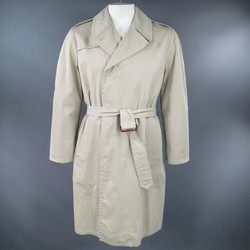 MAISON MARTIN MARGIELA Size 40 Khaki Cotton Hidden Placket Trenchcoat